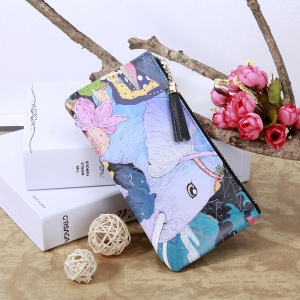 3 - C050 Fashion Trend White Elephant Pattern Painted Leather Wallet -