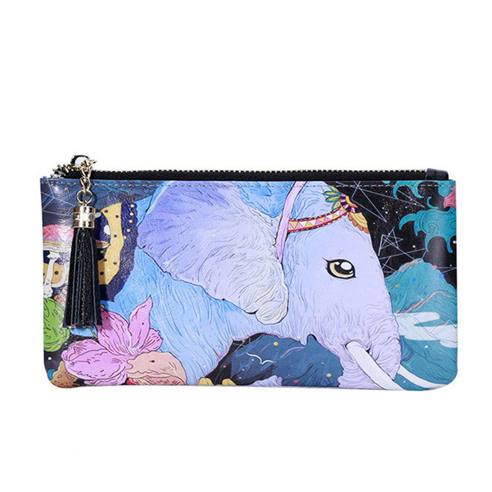 New 3 - C050 Fashion Trend White Elephant Pattern Painted Leather Wallet