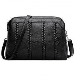 PU Leather Ladies Fashion Woven Shoulder Messenger Bags -