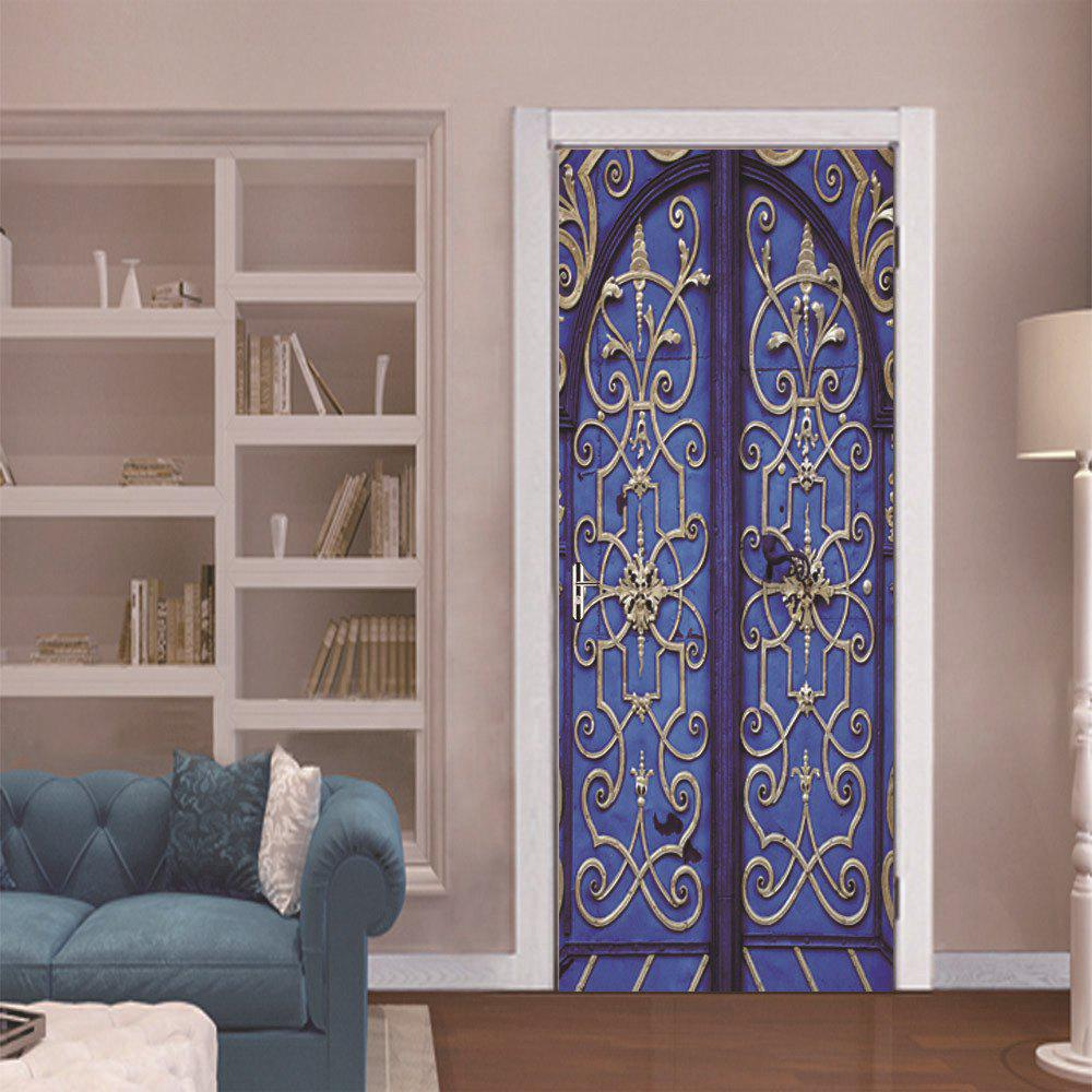 DSU Retro Door Mural Bedroom Door Home Decor Wall StickerHOME<br><br>Color: COLORMIX; Brand: DSU; Type: Plane Wall Sticker; Subjects: Architecture,Cute,Fashion,Vintage; Function: Decorative Wall Sticker; Material: Vinyl(PVC); Suitable Space: Bedroom,Boys Room,Game Room,Girls Room,Hotel,Kids Room,Office,Study Room / Office; Layout Size (L x W): 38.5 x 200 cm x 2 pieces; Effect Size (L x W): 77 x 200 cm; Quantity: 2;
