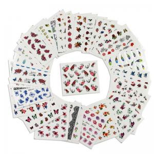 50PCS Different Styles Fashion Flowers Pattern Nail Water Transfer Stickers -