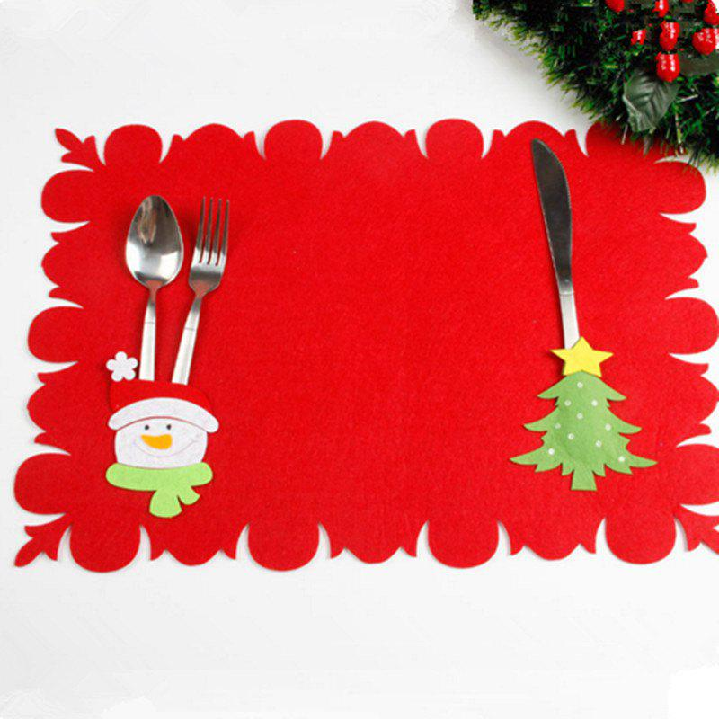 XM Christmas Tree Pattern Placemat Knives Forks Cover Christmas DecorationHOME<br><br>Color: RED; Brand: XM; Material: Nonwoven; Usage: Christmas; Package Quantity: 1;