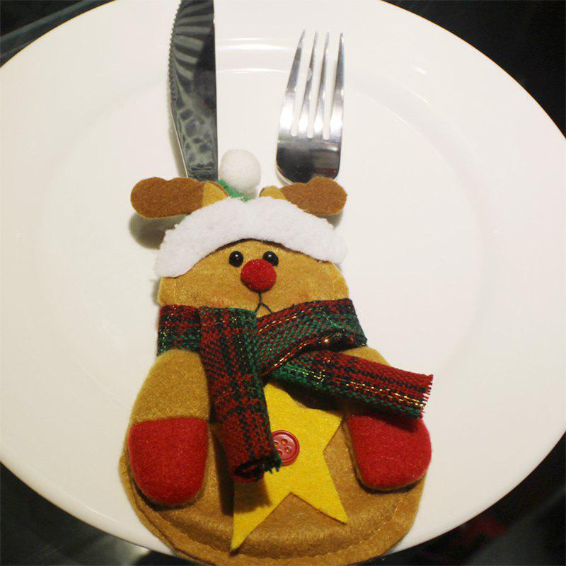 WS Christmas Shape Design Tableware Knife and Fork BagHOME<br><br>Size: DEER; Color: COLORMIX; Brand: WS; Material: Flocking Fabric,Lint; For: All,Kids,Others; Usage: Christmas,Others,Party; Package Quantity: 1 x Christmas knife and fork bag;
