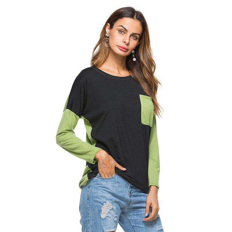 Womens Fashion Loose Paired Pocket Long Sleeves T-ShirtWOMEN<br><br>Size: ONE SIZE; Color: GREEN; Material: Cotton Blends,Polyester; Fabric Type: Worsted; Shirt Length: Regular; Sleeve Length: Full; Collar: Round Neck; Style: Fashion; Embellishment: Pockets; Pattern Type: Patchwork; Elasticity: Micro-elastic; Weight: 0.2000kg; Package Contents: 1 x T-Shirt;