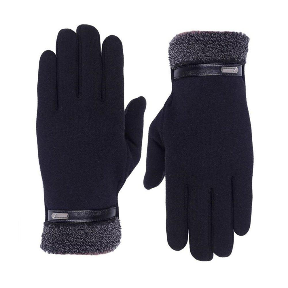 Outdoor Cold Proof Touch Screen Velvet Gloves UnisexACCESSORIES<br><br>Size: 1PC; Color: BLACK;
