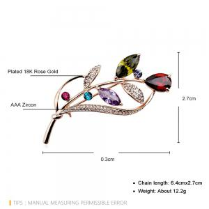Seven Color Leaf Rose Gold Fashion Beautiful Brooch for Women -