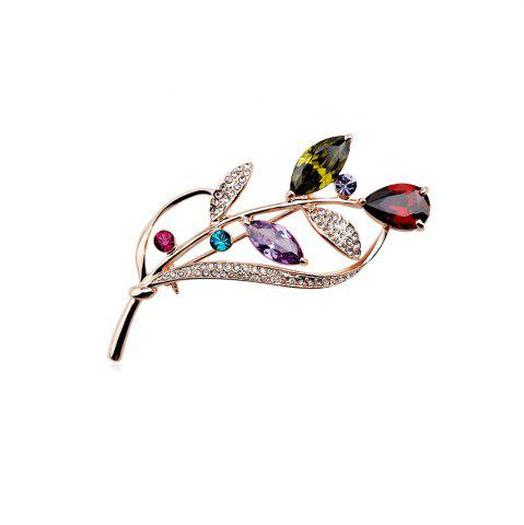 Cheap Seven Color Leaf Rose Gold Fashion Beautiful Brooch for Women