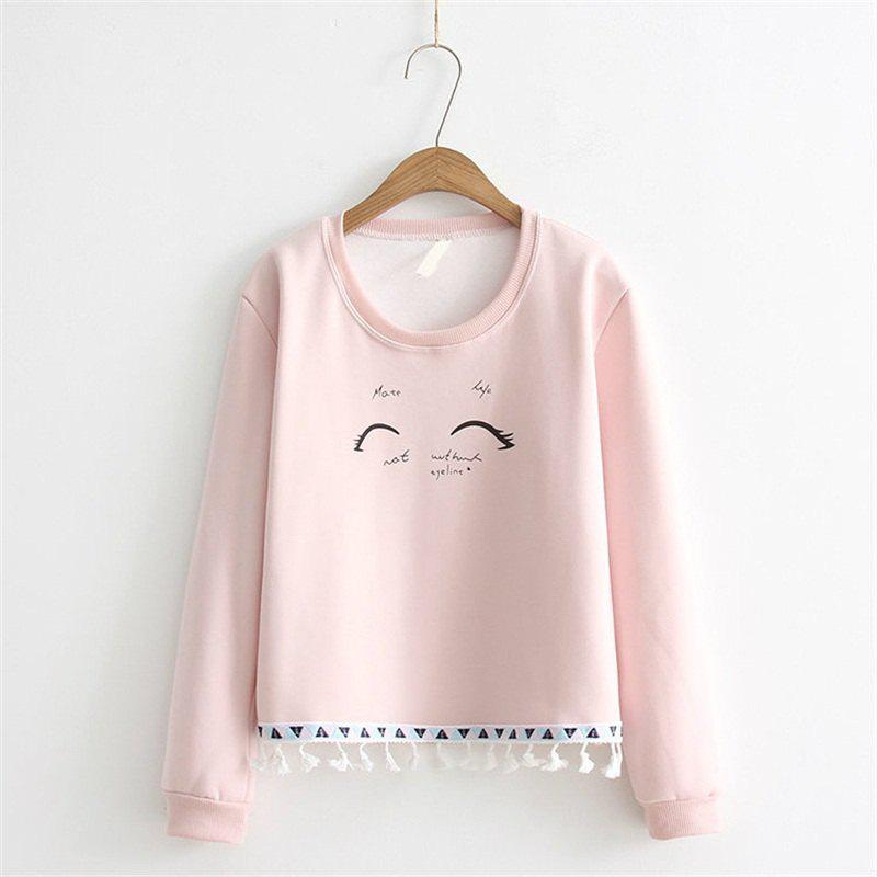Discount 2017 New Ladies' Hoodie Eyelash Pattern