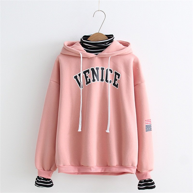 2017 New Ladies Striped Hooded HoodiesWOMEN<br><br>Size: ONE SIZE; Color: PAPAYA;