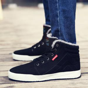 Men's Anti-Slip Fully Fur Lined High Top Shoes -