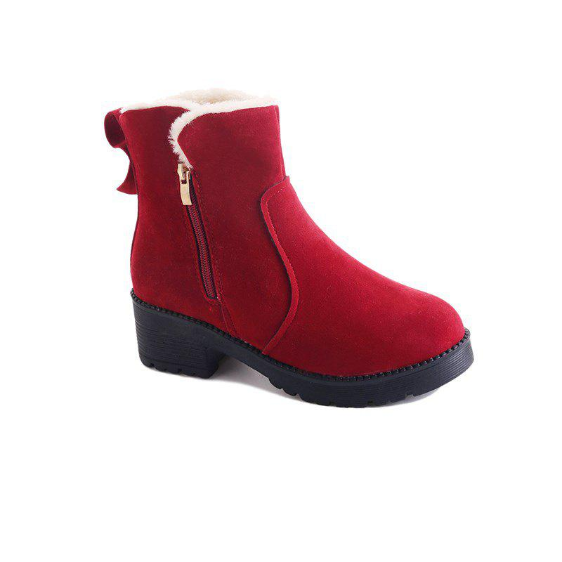 YJ-981 Round Side Zipper Bow Short Barrel Suede and Martin BootsSHOES &amp; BAGS<br><br>Size: 40; Color: WINE RED;
