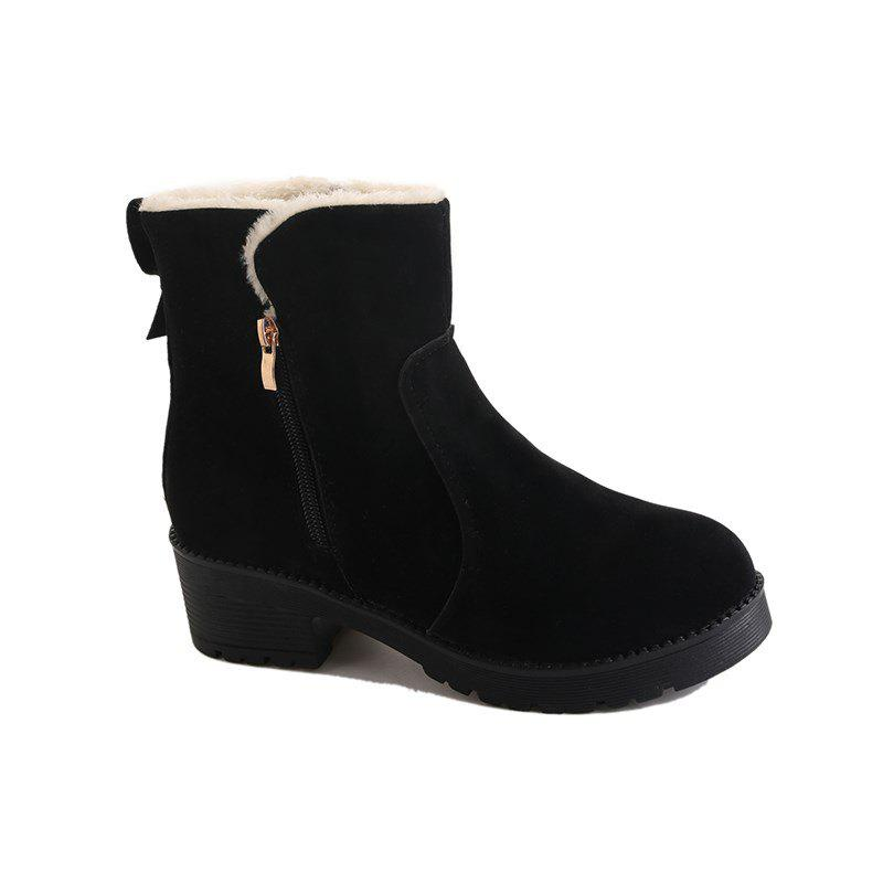 YJ-981 Round Side Zipper Bow Short Barrel Suede and Martin BootsSHOES &amp; BAGS<br><br>Size: 38; Color: BLACK;