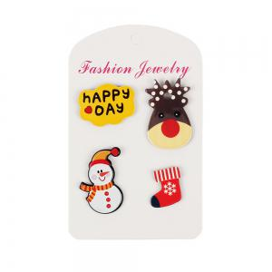 4Pcs Women's Brooches Set Christmas Series Shaped Acrylic Cute Brooch Accessory -