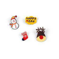 4Pcs Женские броши Set Christmas Series Shaped Acrylic Cute Brooch Accessory -
