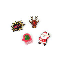 4 Pcs  Popular Santa Claus Cartoon Series  Ladies Brooch -