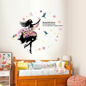 ... DSU Art Decal Decoration Fashion Fairy Flower Girl Wall Sticker  Butterfly Home Decor ...