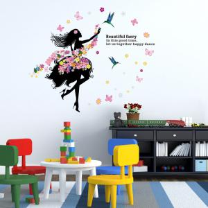 Delightful ... DSU Art Decal Decoration Fashion Fairy Flower Girl Wall Sticker Butterfly  Home Decor