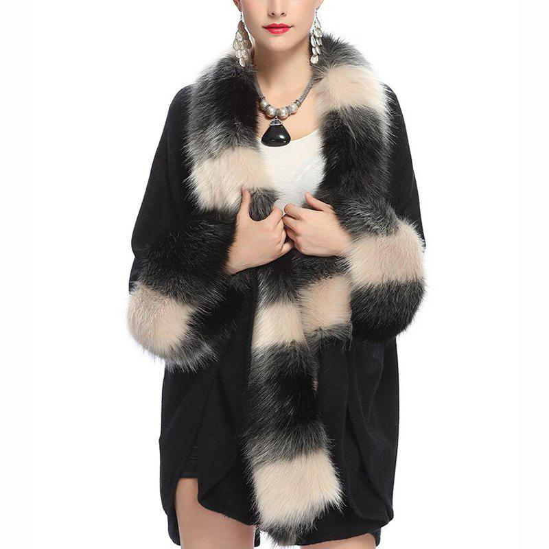 Womens Plus Size Loose Fur Collar Cardigan Shawl Cloak Coat MulticolorWOMEN<br><br>Size: ONE SIZE; Color: BLACK;