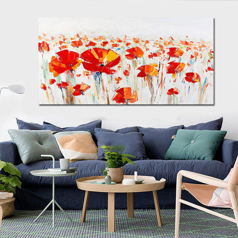 Red Flower Wall Art Abstrct Canvas Print 1PCHOME<br><br>Size: 50 X 100CM; Color: COLORFUL; Material: Canvas; Shape: Horizontal; Craft: Print; Form: One Panel; Painting: Without Inner Frame; Subjects: Abstract; Style: Modern Style; Suitable Space: Bedroom,Cafes,Living Room,Office;
