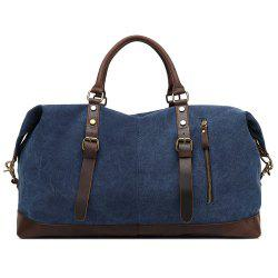 AUGUR Oversized Canvas Genuine Leather Trim Travel Tote Duffel Shoulder Handbag Weekend Bag -