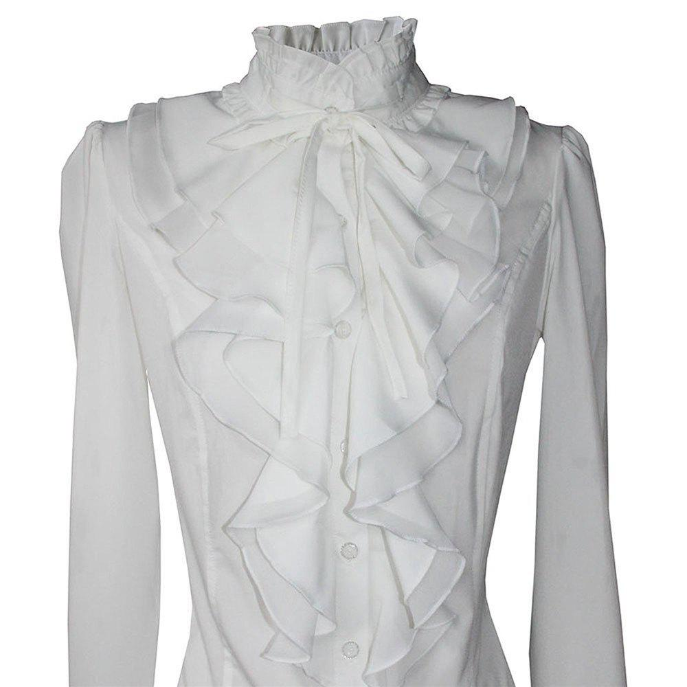 Women Office Blouses Victorian Top Button Silky Lace Collar Ruffle Satin ShirtsWOMEN<br><br>Size: XL; Color: SNOW WHITE;