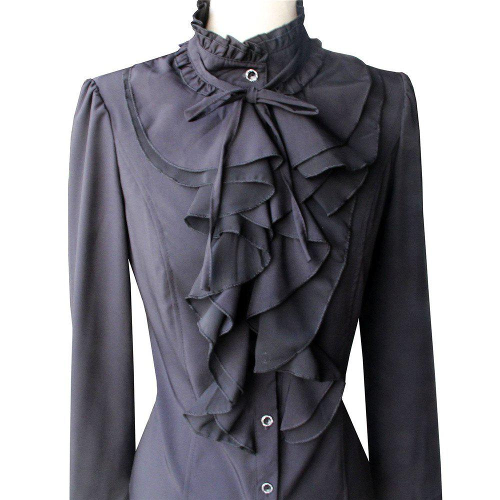 Women Office Blouses Victorian Top Button Silky Lace Collar Ruffle Satin ShirtsWOMEN<br><br>Size: XL; Color: BLACK;