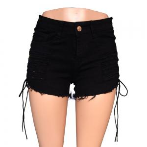 Dolls Kill Current Mood Gothic Hole Women Lace Up Shorts High Waist Denim Shorts -