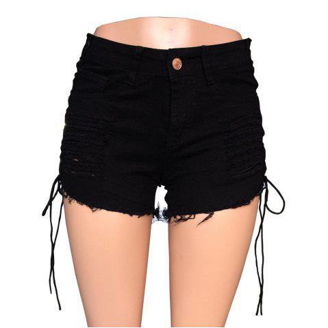 Poupées Tuer Current Mood Gothique Trou Femmes Lace Up Shorts Taille Haute Denim Shorts