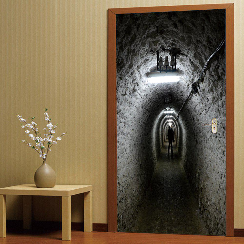 3D Self Adhesive Miner Tunnel Door Sticker Home DecalHOME<br><br>Color: COLORMIX; Type: 3D Wall Sticker; Subjects: 3D,Architecture,Still Life,Vintage; Art Style: Plane Wall Stickers; Color Scheme: Others; Artists: Others; Function: 3D Effect,Decorative Wall Sticker; Material: Vinyl(PVC); Suitable Space: Bedroom,Boys Room,Kids Room,Office; Quantity: 2;