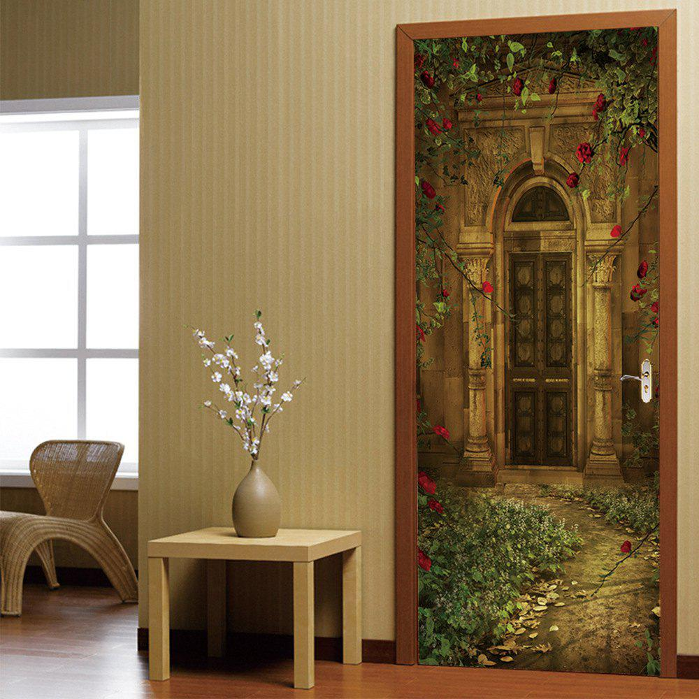 European-style Villa Door Sticker Home DecalHOME<br><br>Color: COLORMIX; Type: 3D Wall Sticker; Subjects: 3D,Architecture,Landscape,Leisure,Romance,Still Life,Vintage; Art Style: Plane Wall Stickers; Color Scheme: Others; Artists: Others; Function: 3D Effect,Decorative Wall Sticker; Material: Vinyl(PVC); Suitable Space: Bedroom,Cafes,Dining Room,Garden,Hotel,Living Room,Office,Study Room / Office; Quantity: 2;