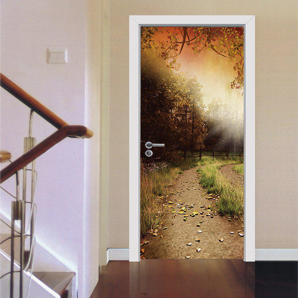 Autumn Fallen Leaves Flagging Door StickerHOME<br><br>Color: COLORMIX; Type: 3D Wall Sticker; Subjects: 3D,Botanical,Landscape,Leisure,Romance,Still Life,Vintage; Art Style: Plane Wall Stickers; Color Scheme: Others; Artists: Others; Function: 3D Effect,Decorative Wall Sticker; Material: Vinyl(PVC); Suitable Space: Bedroom,Boys Room,Cafes,Game Room,Garden,Girls Room,Hotel,Kids Room,Kids Room,Living Room,Office,Study Room / Office; Quantity: 2;