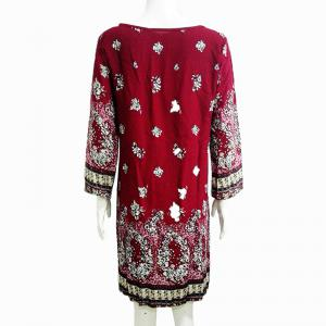 Restore Ancient Ways Round Collar Printed Long-Sleeved Dress -