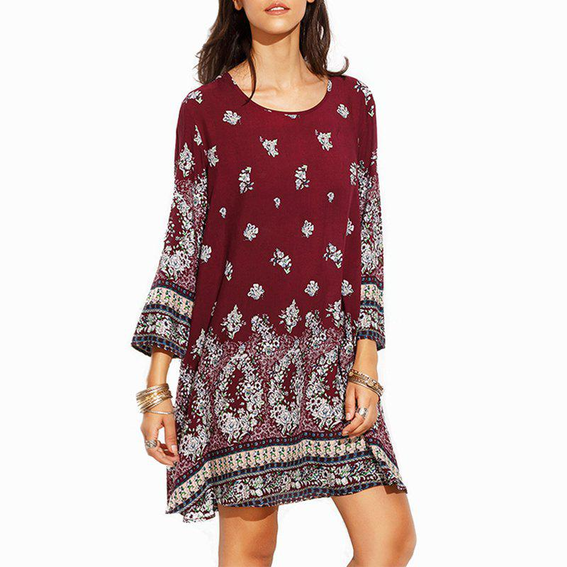 Restore Ancient Ways Round Collar Printed Long-Sleeved DressWOMEN<br><br>Size: M; Color: WINE RED;