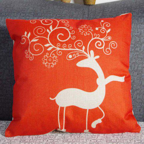DIHE Beautiful Deer Linen Pillow Cover Full of Vitality Cushion