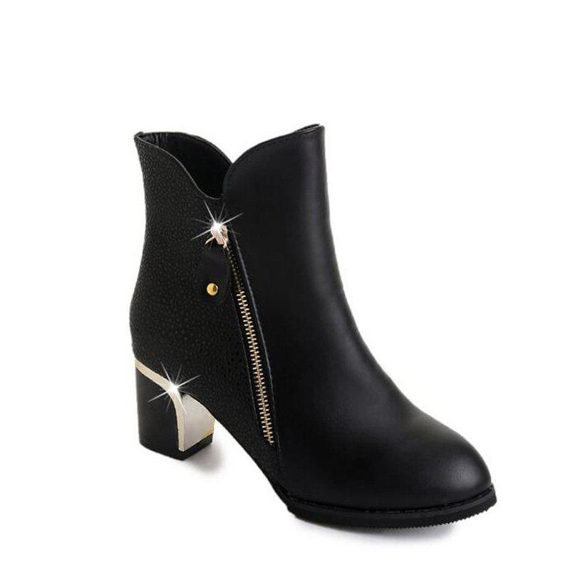 Chic High Heels and Zipper Warm Martin Boots in The Fall