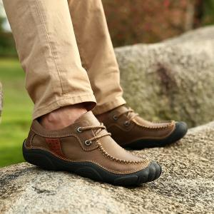 Male Low Foot Thick Soles Wear Breathable To Pull The Cart New Trend All-Match Business Casual Leather Shoes -