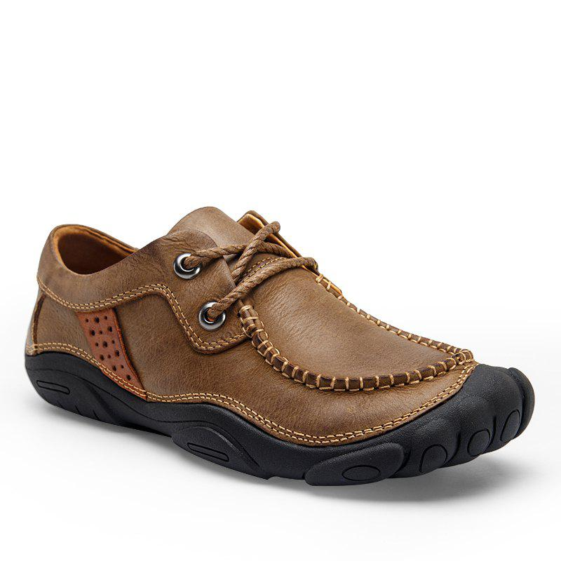 Shops Male Low Foot Thick Soles Wear Breathable To Pull The Cart New Trend All-Match Business Casual Leather Shoes