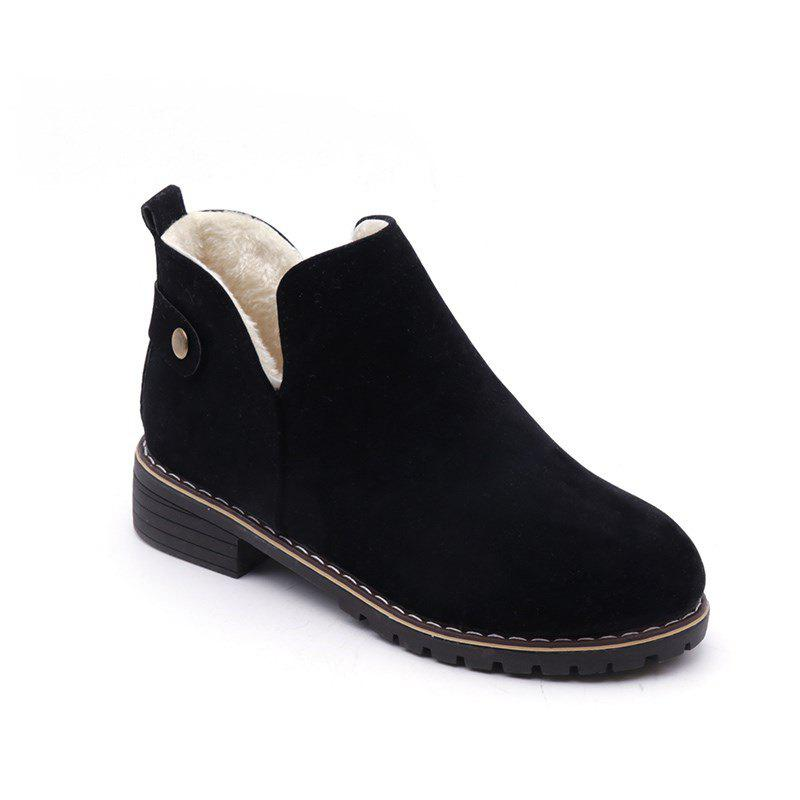 YJ-791 Round Shallow Foot Thick with All-match Muzzle Martin BootsSHOES &amp; BAGS<br><br>Size: 37; Color: BLACK;