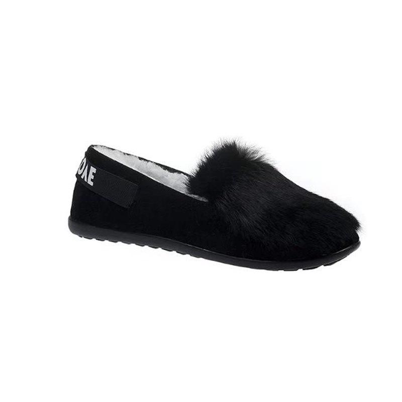 Round Bottomed Shallow Mouth Set Foot ShoesSHOES &amp; BAGS<br><br>Size: 36; Color: BLACK; Gender: For Women; Flat Type: Mary Janes; Toe Style: Closed Toe; Toe Shape: Round Toe; Closure Type: Slip-On; Pattern Type: Solid; Occasion: Casual; Upper Material: Flock; Season: Spring/Fall; Available Size: 35?36?37?38?39?40;