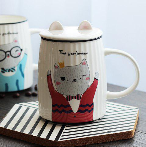 Outfit 500ML Cartoon Cat Striped Ceramic Cup