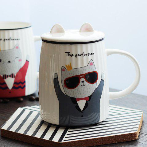 Shops 500ML Cartoon Cat Striped Ceramic Cup
