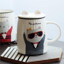 500ML Cartoon Cat Striped Ceramic Cup -