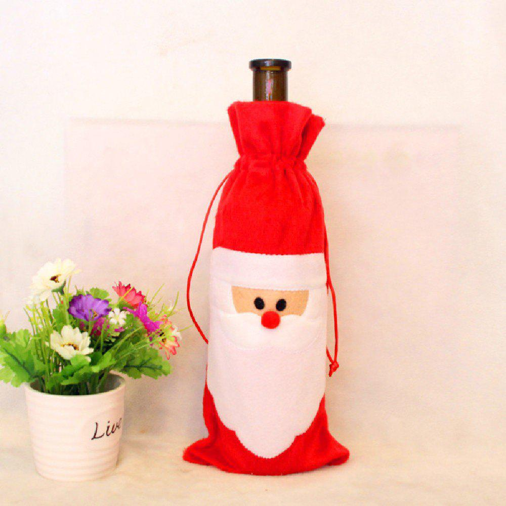 YEDUO Wine Bottle Set Cover Bag Christmas Dinner Table Decoration Home Party Decors Santa ClausHOME<br><br>Color: RED WITH WHITE; Brand: YEDUO; Usage: Christmas;