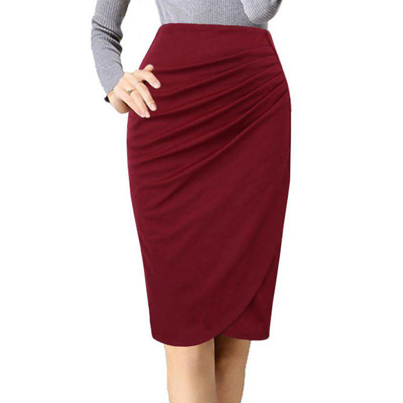 bdf3071134670c 43% OFF] Women's Ruching Solid Color Plus Size Pencil Skirt | Rosegal