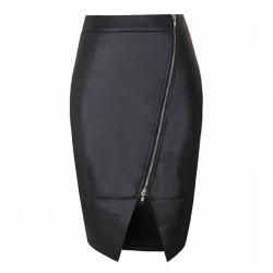 Women's  Classic High Waist Black PU Skirt -