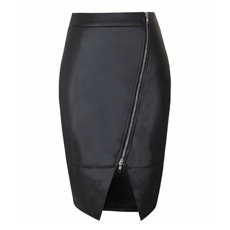 Fashion Women's  Classic High Waist Black PU Skirt