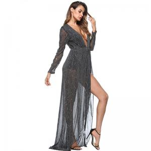 Women's  V Neck Long Sleeve Split Solid Organza Dress -