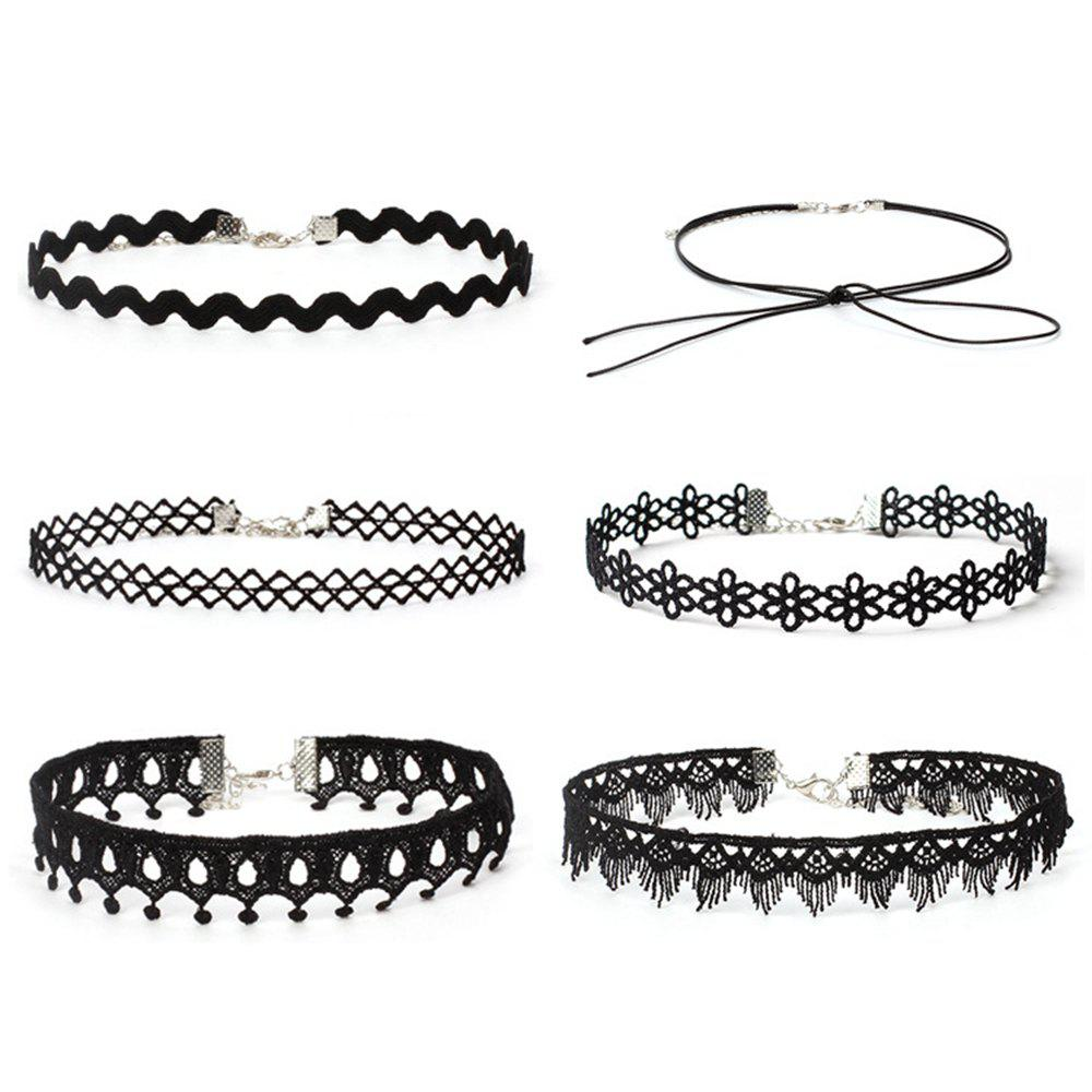 6pcs Womens Fashion Lace Choker Stylish Necklace AccessoryJEWELRY<br><br>Color: BLACK;