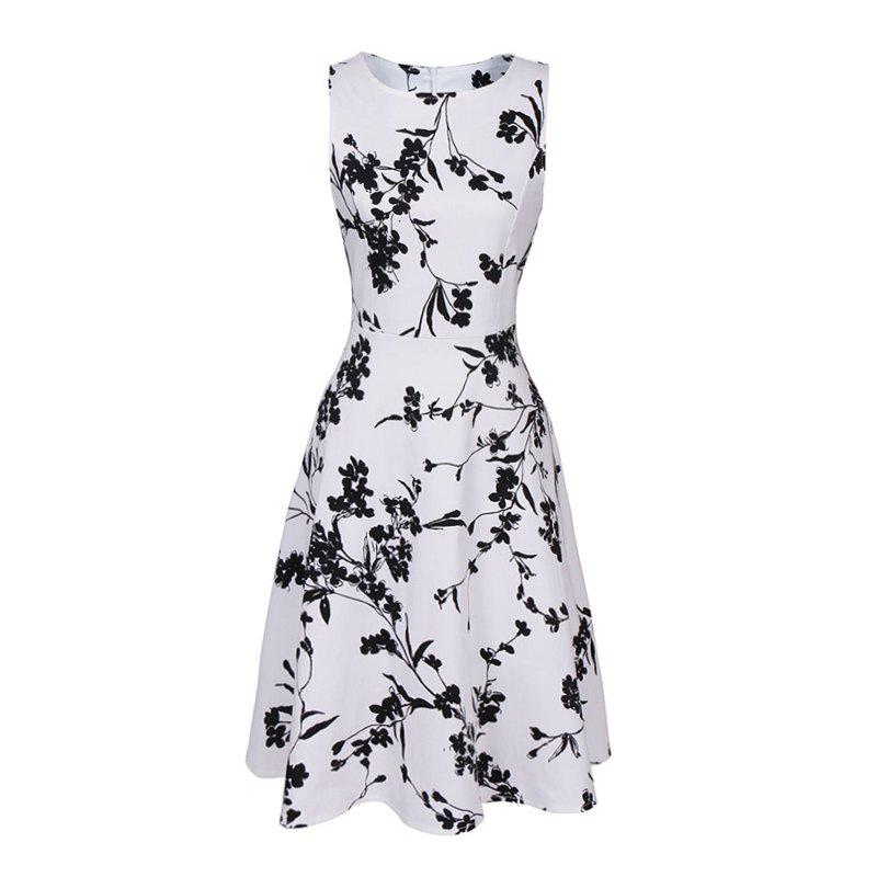 Women Sexy Vintage Summer Robe Retro Swing Casual 50s Floral Printed Courtly Crew Neck Empire A Line DressWOMEN<br><br>Size: M; Color: WHITE;