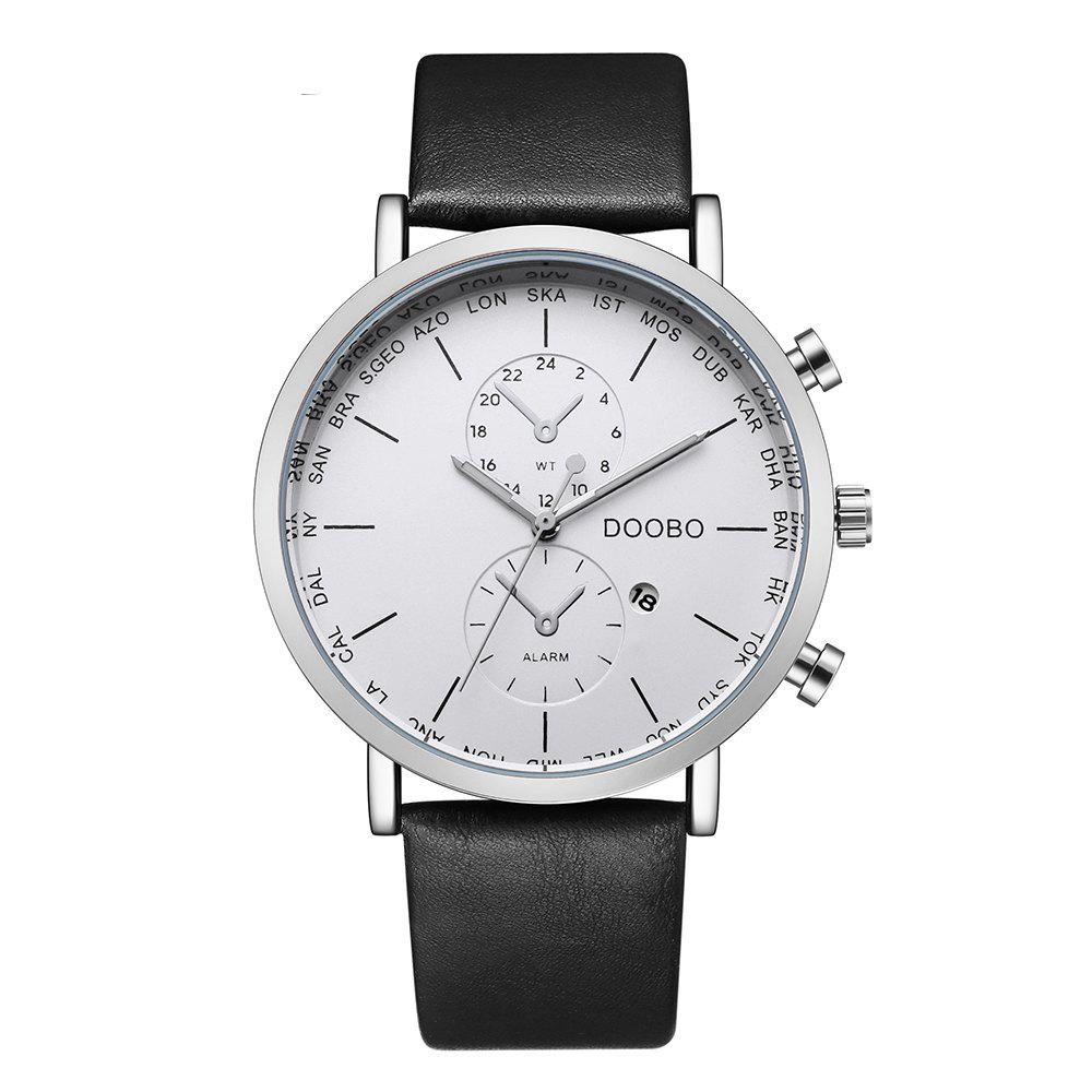 DOOBO D017 4756 Leisure Fashion Leather Band Quartz Men Watch with BoxJEWELRY<br><br>Color: WHITE; Brand: DOOBO; Watches categories: Men; Watch style: Business,Casual,Fashion,Outdoor Sports;